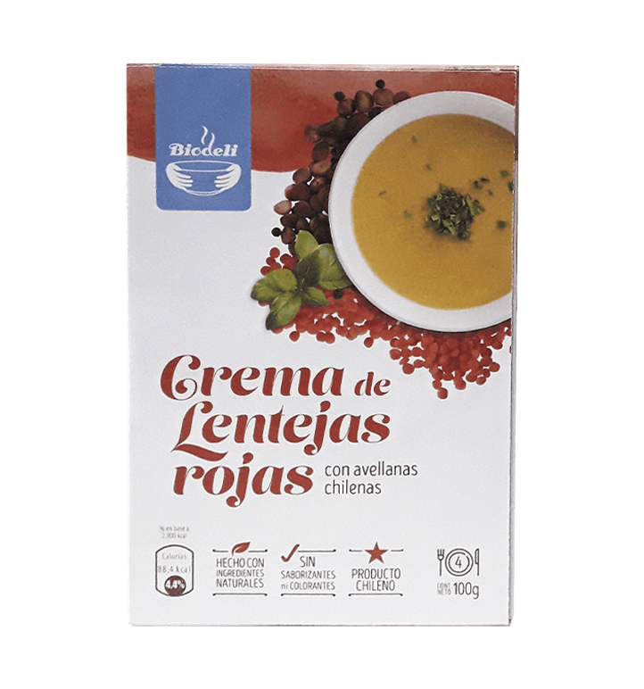 Crema de lentejas rojas con avellanas chilenas 100gr